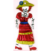 Day of the Dead Decorations Dama w/ Red Dress Tin Ornament Image