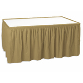 New Years Table Accessories Table Skirt Metallic Gold Image