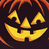 Halloween Table Accessories Pumpkin Grin Beverage Napkins Image