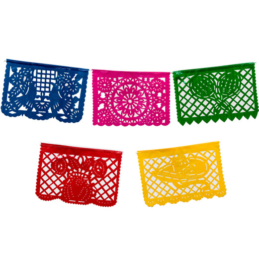 large plastic picado banner multicolor - Mexican Party Decorations