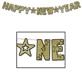 New Years Decorations Glittered Happy New Year Gold Streamer Image