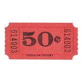 Tickets & Wristbands Red 50 Cent Ticket Roll Image