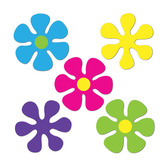 60s & 70s Decorations Mini Retro Flower Cutouts Image