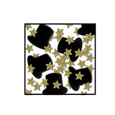 New Years Decorations Black Top Hats and Gold Stars Confetti Image