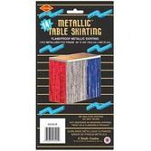4th of July Table Accessories Red-White-Blue Metallic Fringe Table Skirt Image