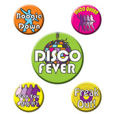 60s & 70s Party Wear Disco Party Buttons Image