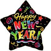 New Years Balloons Happy New Year Star Mylar Balloon Image
