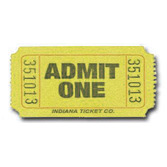 Tickets & Wristbands Yellow Admit One Ticket Roll Image
