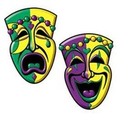 Mardi Gras Decorations Comedy & Tragedy Face Cutouts Image