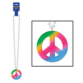 60s & 70s Party Wear Beads with Peace Sign Medalln Image