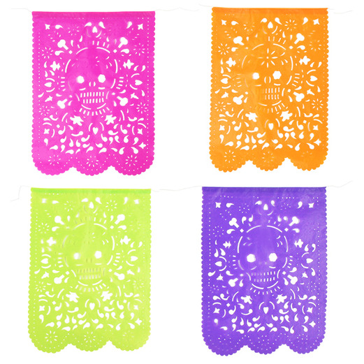 Day of the Dead Decorations Skull Papel Picado Flags Image