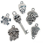 Day of the Dead Favors & Prizes Day of the Dead Metal Charms Image