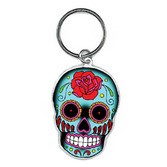 Day of the Dead Favors & Prizes Rose Sugar Skull Keychain Image