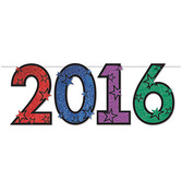 New Years Decorations Multicolor Glittered 2016 Streamer Image