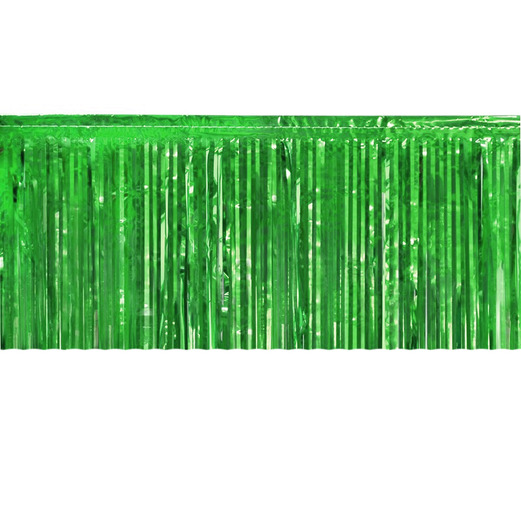 St. Patrick's Day Table Accessories Green Metallic Fringe Table Skirt Image