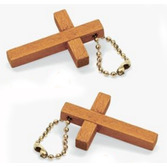 Easter Favors & Prizes Wooden Cross Keychains Image