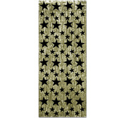 New Years Decorations Gold Curtain with Black Stars Image