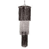 New Years Decorations Giant 3-Tier Black and Silver Chandelier Image