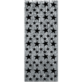 New Years Decorations Silver Curtain with Black Stars Image