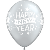New Years Balloons Silver Happy New Year Stars and Swirls Balloons Image