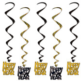 New Years Decorations Black and Gold Happy New Year Whirls Image