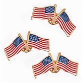 4th of July Favors & Prizes Double USA Flag Pins Image