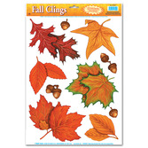 Thanksgiving Decorations Fall Leaf Glass Clings Image