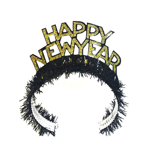 New Years Hats & Headwear Black and Gold Fringed Happy New Year Tiara Image