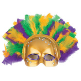Mardi Gras Party Wear Feathered Metallic Half Mask Image