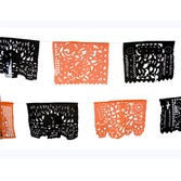 Day of the Dead Decorations Large Orange and Black Plastic Picado Image