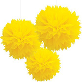 Easter Decorations Yellow Fluffy Tissue Balls Image