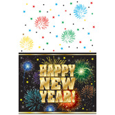 New Years Table Accessories New Year's Fireworks Tablecover Image