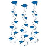 Graduation Decorations Blue Printed Grad Cap Whirls Image