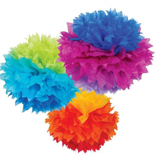 Fiesta Decorations Rainbow Fluffy Tissue Balls Image