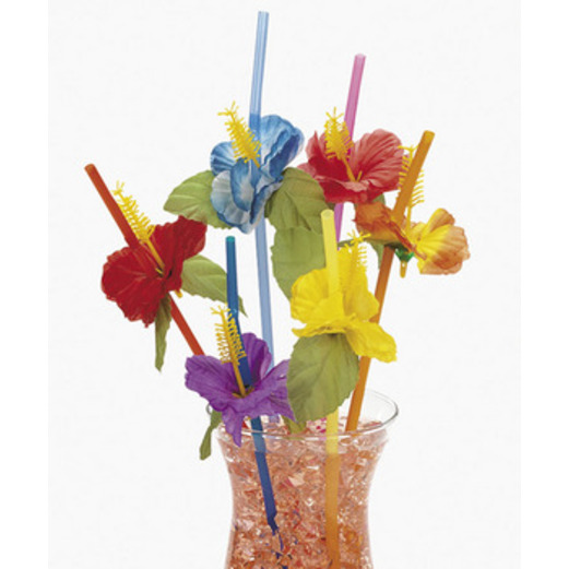 Luau Table Accessories Hibiscus Flower Straws Image