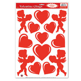 Valentine's Day Decorations Heart and Cupid Glass Clings Image