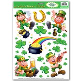 St. Patrick's Day Decorations Leprechaun & Shamrock Clings Image