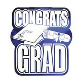 Graduation Decorations Blue Congrats Grad Cutout Image