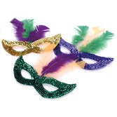 Mardi Gras Party Wear Mardi Gras Feather Sequin Masks Image