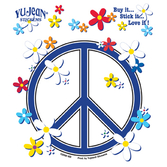 Birthday Party Favors & Prizes Peace Sign and Daisies Sticker Image