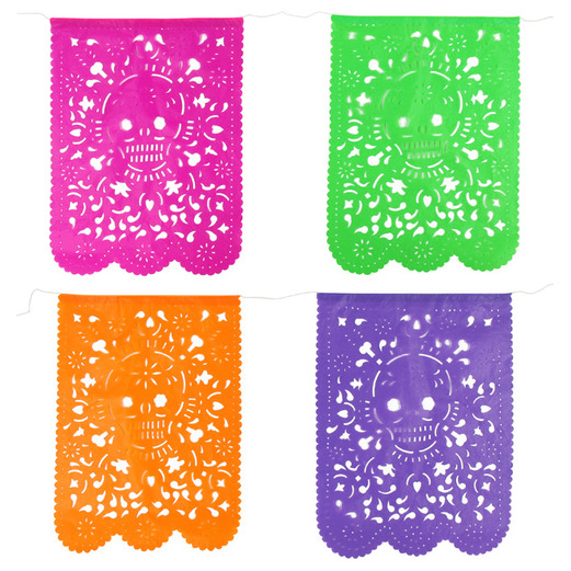 Day of the Dead Decorations Skull Plastic Picado Flags Image