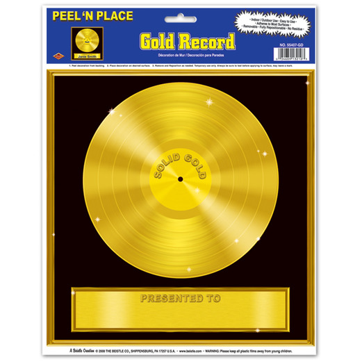 Awards Night & Hollywood Decorations Gold Record Peel N Place Image