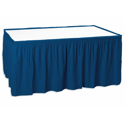 4th of July Table Accessories Table Skirt Navy Blue Image