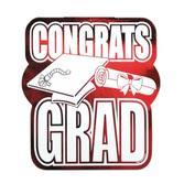 Graduation Decorations Red Congrats Grad Cutout Image