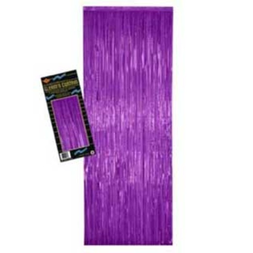 Mardi Gras Decorations Purple Metallic Fringe Curtain Image