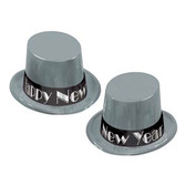 New Years Hats & Headwear Simply Silver New Year Top Hat Image