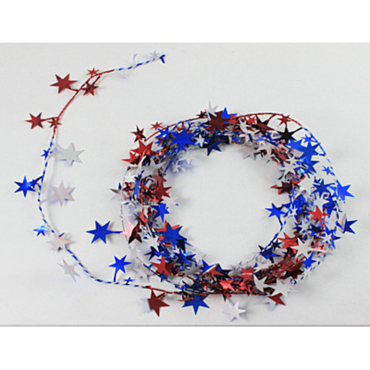 4th of July Decorations Red-White-Blue Star Wire Garland Image