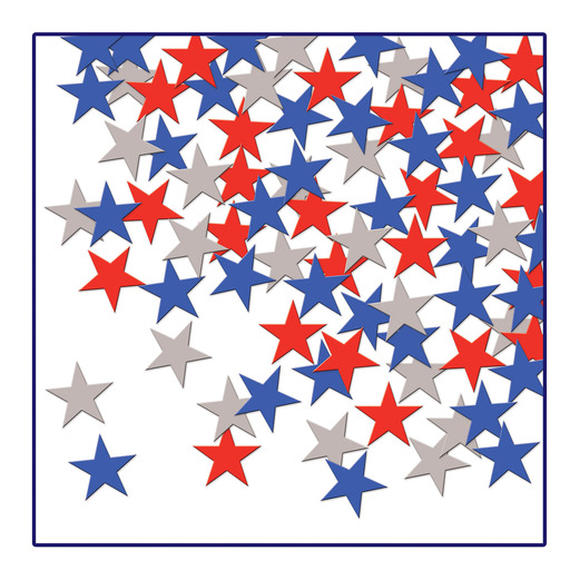 4th of July Decorations Red, Silver, Blue Metallic Stars Confetti Image