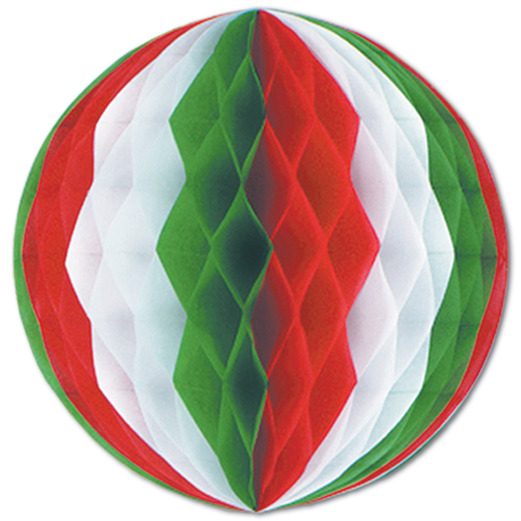 """Cinco de Mayo Decorations 12"""" Red-White-Green Tissue Ball Image"""