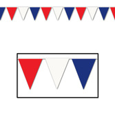 4th of July Decorations 120' Red-White-Blue Pennant Image